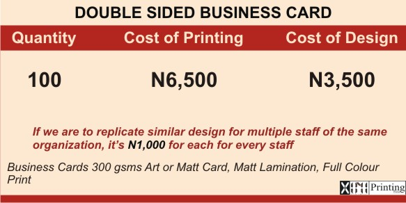 Business Card Printing & Branding Services Company In Lagos | Prices