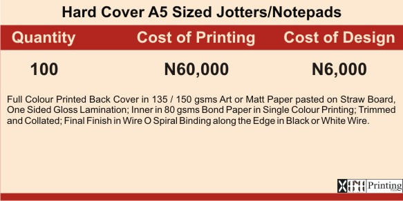 Jotter Printing In Lagos | Prices