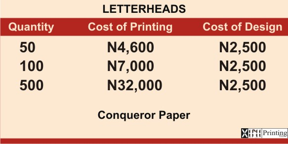 Printing In Lagos | Prices
