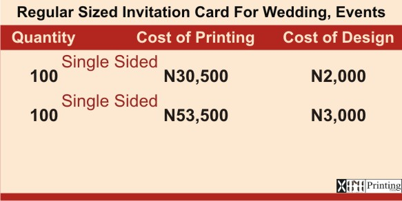 Invitation Card Printing In Lagos | Prices with Branding