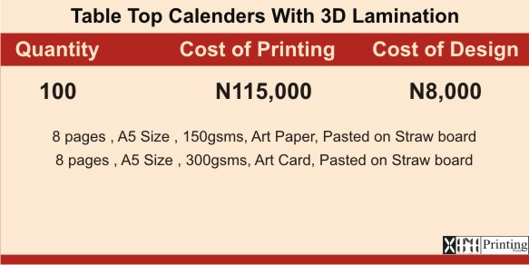 Calender Printing In Lagos | Prices