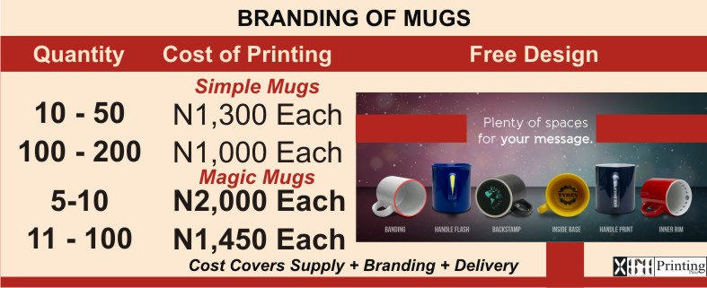 Cost price Of Branding Mugs In Printing On In Lagos Nigeria