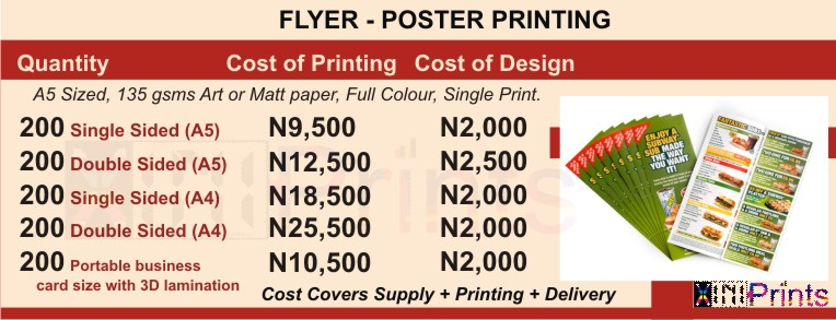 Cost Price Of Printing Flyers Posters In Lagos Nigeria
