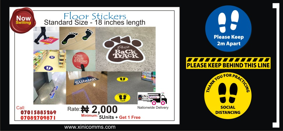 Social Distance Floor Stickers Printing In Lagos Nigeria